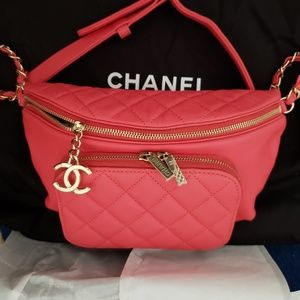 Chanel Coral Red Caviar Leather Waist BumBag
